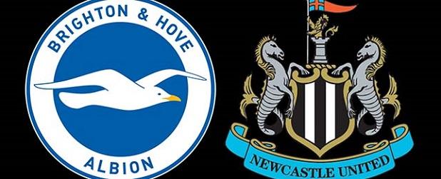 Brighton v Newcastle United Crests Black Background